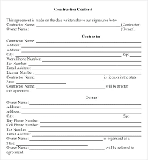 Contract Forms For Construction Construction Contracts Templates Simple Contract Template Form