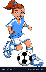 playing cartoon soccer football girl player clipart cartoon vector image