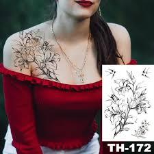 водонепроницаемый временные татуировки наклейки эскиз цветок лилии рисунок