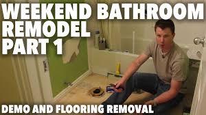Re Tile Bathroom Weekend Bathroom Remodel Part 1 Demo And Flooring Removal Youtube