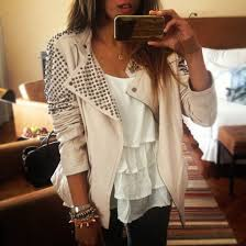 jacket fashion studded jacket perfecto shirt tank top leather jacket clothes studs pretty blouse beige jewels