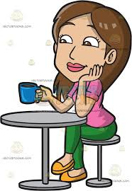 drinking coffee clipart. Interesting Clipart A Woman In Coffee Shop Enjoying Cup Of Throughout Drinking Clipart R