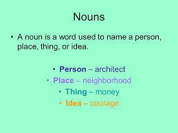 Image result for Nouns person place thing idea