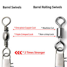 Fishing Barrel Swivel Size Chart Dr Fish Fishing Barrel Swivel With Safety Snap Interlock Snaps 100 Stainless Steel Copper Corrosion Resistance Pack Of 50 26 132lb
