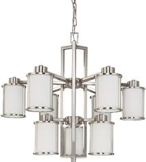 nuvo 60 3809 odeon 9 light 30 inch brushed nickel chandelier ceiling light