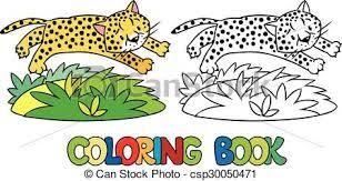 coloring book of little cheetah or jaguar csp30050471