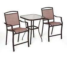 sand dune 3pc high outdoor bistro set tan beige patio poolside table furniture