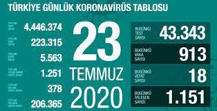 23 Temmuz Perşembe koronavirüs tablosu Türkiye! Koronavirüsten dolayı kaç  kişi öldü Koronavirüs vaka, iyileşen, entübe sayısı ve son durum ne? -  Haberler