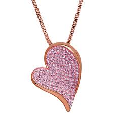 vintage rose gold chain with pink swarovski crystal heart pendant necklace only