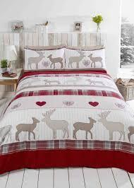 st andrews reindeer red flannelette duvet cover set super kingsize