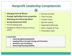 leadership skill list developing nonprofit executives the skills experiences