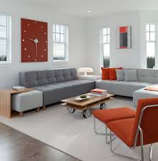 View In Gallery Contemporary Living Space With An Exquisite Wall Clock That  Brings In Reddish Accents