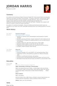 Student Manager Resume samples