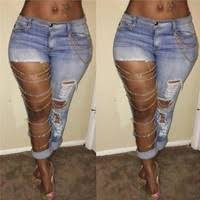 <b>Women Fashion Women</b> Sexy <b>Jeans</b> with Holes and <b>Chains</b> Street ...