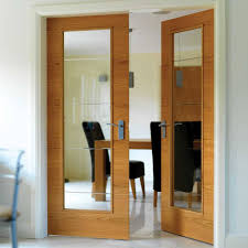 interior clear glass door. JBK Royale Modern VT5-1VB Oak Door Pair With Diamond Cut Lined Clear Glass Is Prefinished Interior