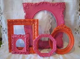 Pink And Orange Bedroom Fuschia Hot Pink And Orange Ornate Upcycled Frame Set Gallery