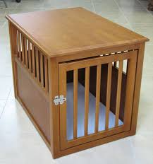 oak dog crate end table