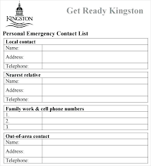 Emergency Form For Daycare Phone Number List Template Soulective Co