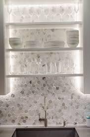hexagon glass tile backsplash home design ideas interesting