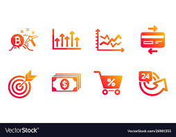 Special Offer Target And Growth Chart Icons Set