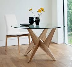 contemporary dining table glass oak round