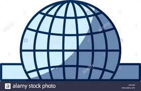 Blue Color Silhouette Shading Of Closeup Flat Globe Earth