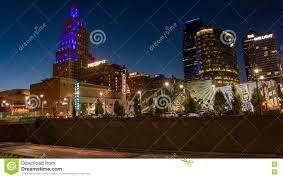 Kansas City Power And Light District Restaurants Nighttime View Of The Power And Light District In Kansas