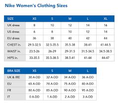 54 Unfolded Nike Womens Shirt Size Chart