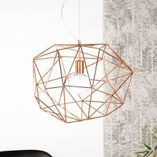 modern wire geometric copper pendant light