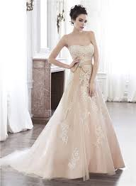 line strapless champagne color lace applique wedding dress with