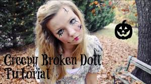 creepy broken doll hair makeup and costume tutorial