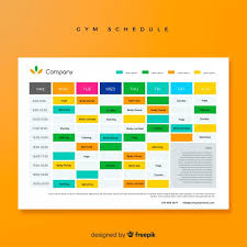 Design Schedule Template Modern Gym Schedule Template With Flat Design Vector Free
