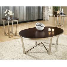 Coffee Table Set Of 3 Steve Silver Cosmo Oval Cherry Wood 3 Piece Coffee Table Set