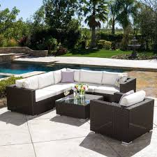 sunbrella patio furniture outdoor 7 piece wicker seating sectional set with cushion by knight sunbrella patio furniture with fire pit
