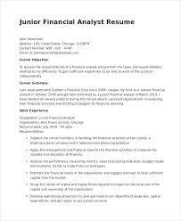 Objective For Job Resume Best Resume For Financial Analyst