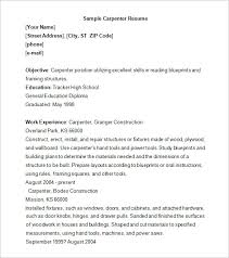 Marvelous Carpenter Resume Sample Template 9 Free Samples Examples