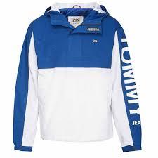 Tommy Jeans Color Blocked Popover Jacket Dm0dm05978 S Blue Cotton