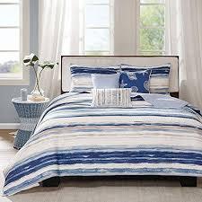 6 piece trendy blue tan white full