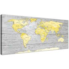 Oversized Yellow Grey Large Yellow Grey Map Of World Atlas Canvas Wall Art  Print Maps Canvas Display Gallery Item 1 ...