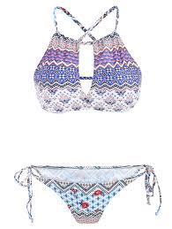 Women S Stylish Cut Out Color Block Print Two Piece Swimwear