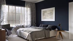 Good Interior Design With White And Blue Bedroom Ideas : Incredible Dark  Blue Wall Painting With