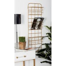 litton lane gold iron 3 tiered wall mounted basket rack with hooks