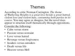 investigating wuthering heights 10 themes according to critic norman carrington the theme of wuthering heights