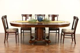 round 48 quarter sawn oak 1900 antique dining table 3 leaves