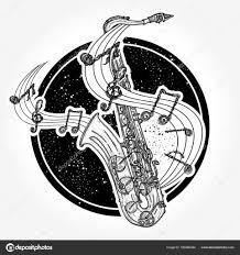 Jazzové Tetování A Tričko Design Saxofon A Hudební Poznámky Stock