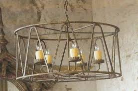 old world forged iron drum chandelier