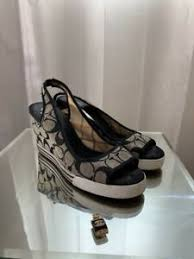 Details About Coach Wedge Heel Sandals Us 8 5 B Black Logo Fabric Cc Open Toe
