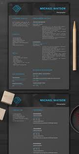 Dark Resume Template Creative Resume Template 1 Page Resume