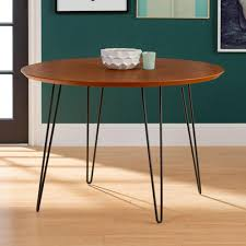 Hairpin dining table Kitchen Table Walnut Round Hairpin Leg Dining Tablehdw46rdhpwt The Home Depot The Home Depot 46 In Walnut Round Hairpin Leg Dining Tablehdw46rdhpwt The Home