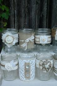 Decorating With Mason Jars And Burlap Burlap and lace flower mason jars diy with pearls and buttons 39